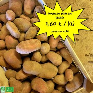"""Pommes de terre bio """"Désirée"""" par 20 kg"""